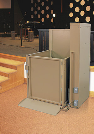 wheelchair platform lift by a stage