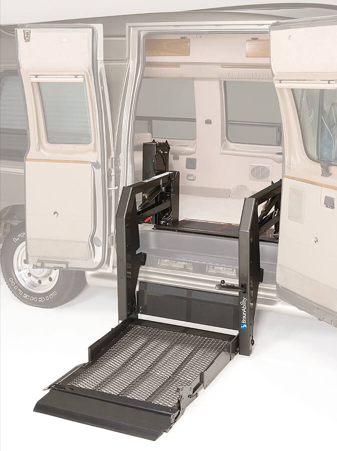 Transparent van lift platform