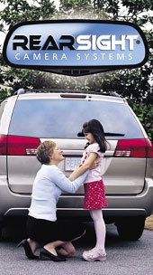 RearSight Camara Systems logo with mom and daughter behind a van unable to be seen by side view mirrors