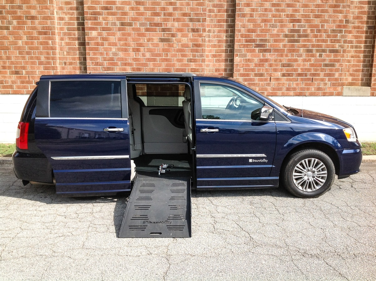 Side view of Blue Chrysler Wheelchair Minivan