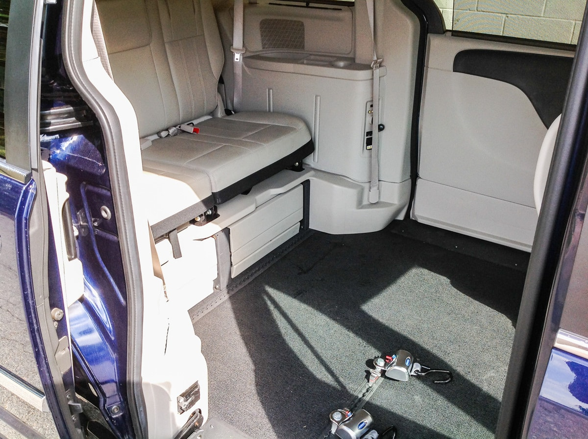 Side entry ramp of Blue Chrysler Wheelchair Minivan