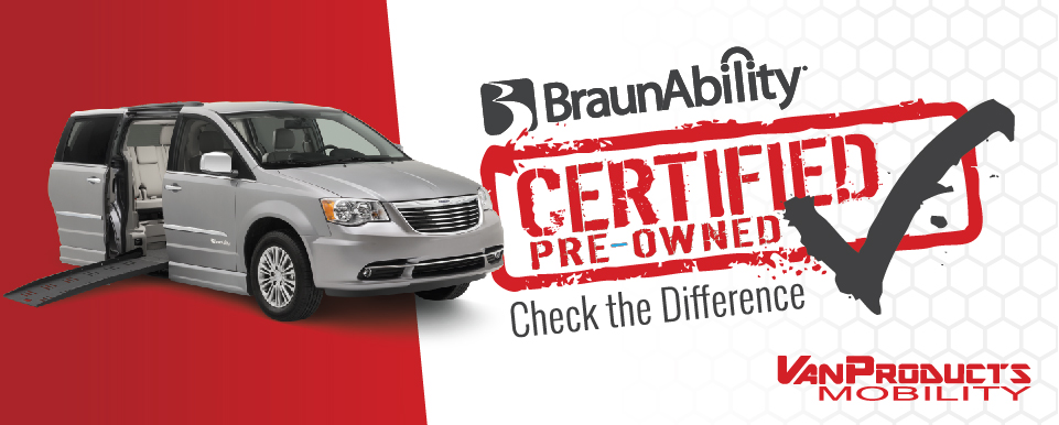Braunability Certified Pre-Owned Program banner with mobility van